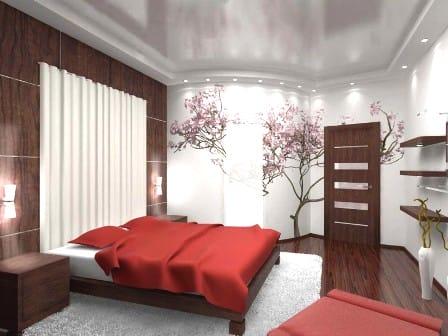 цветовое зонирование спальни