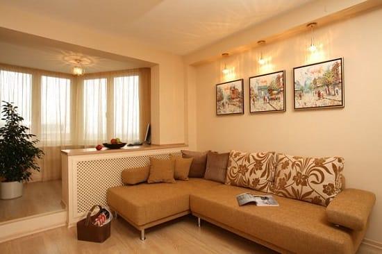 Пример совмещения гостиной и балкона