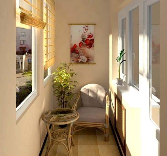 Плетеная мебель для небольшого балкона