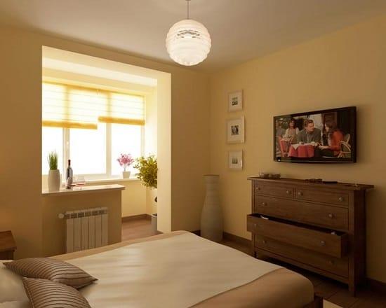 Совмещение балкона со спальней