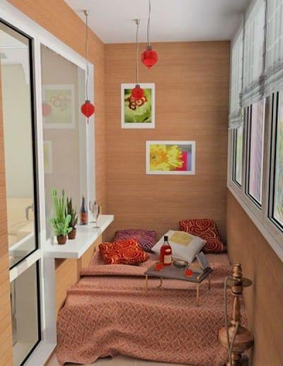 Спальня на балконе в восточном стиле
