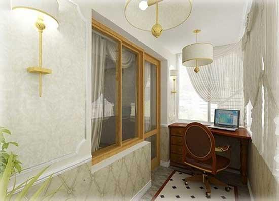 Настенные и потолочные светильники на балконе
