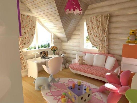 Дизайн мансарды для девочки