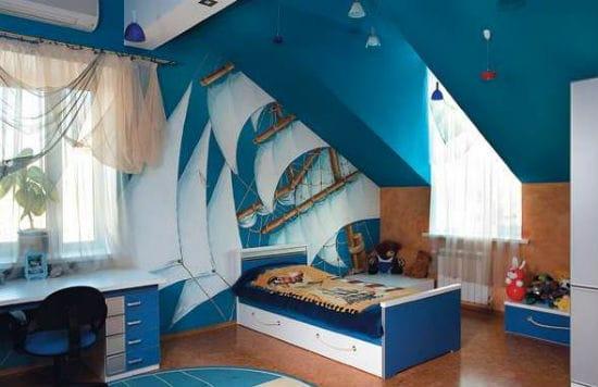 Дизайн мансарды в морском стиле