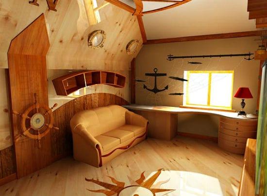 Дизайн деревянной мансарды