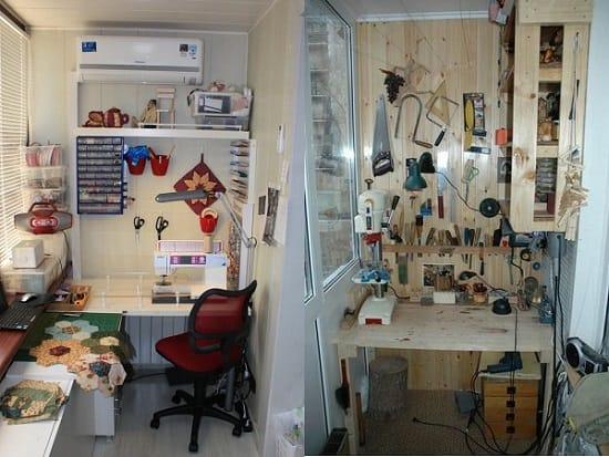 Устройство мастерской на лоджии