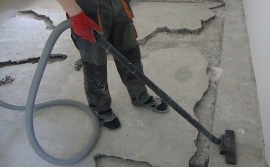 Обеспыливание плиты лоджии