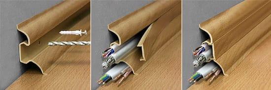 Крепление декоративного плинтуса с кабель-каналом