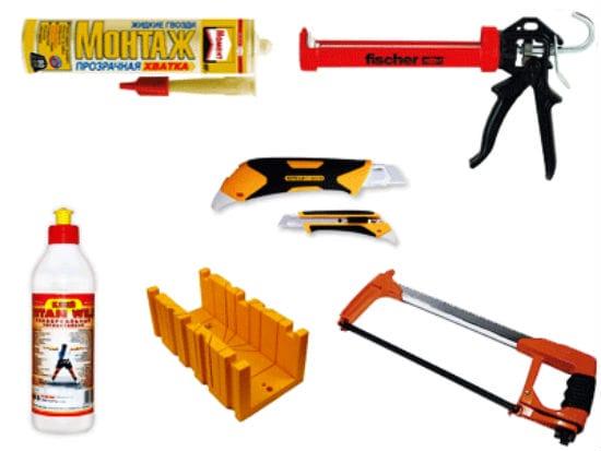 Инструменты для приклейки плинтусов