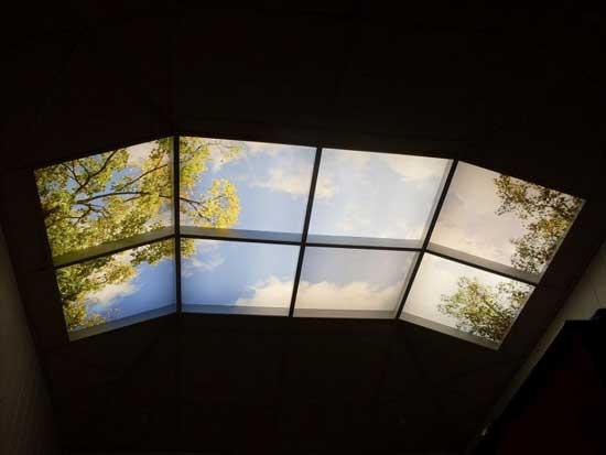 Натяжной 3d-потолок на мансарде