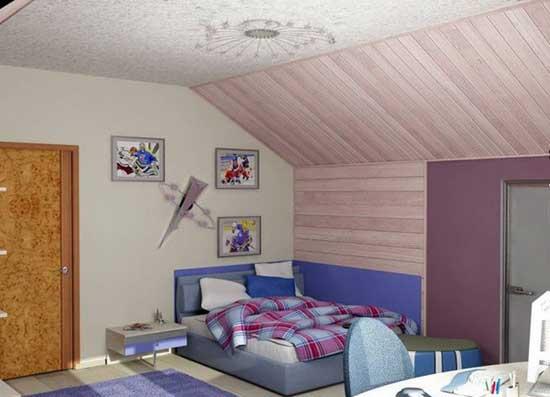 Интерьер детской на мансарде со скошенным потолком