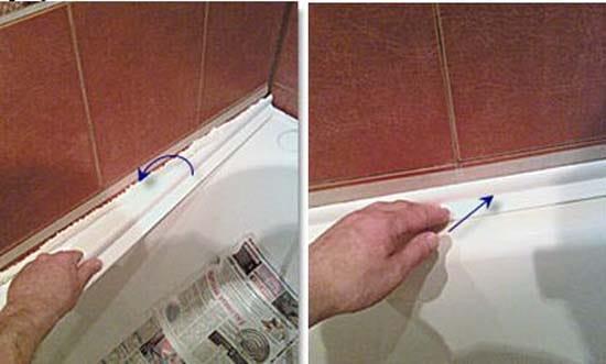 Монтаж ПВХ плинтуса на ванную