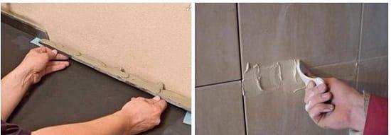 Монтаж керамического плинтуса на цементный раствор