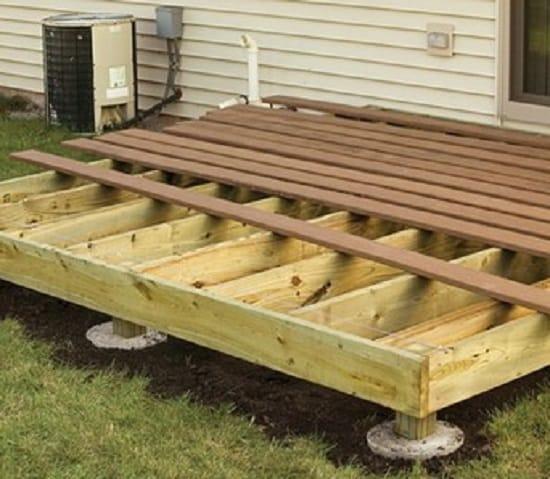 Укладка пола площадки деревянного крыльца