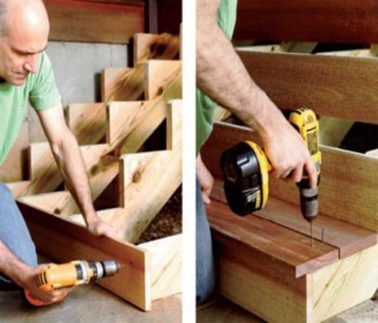 Установка ступенек деревянного крыльца