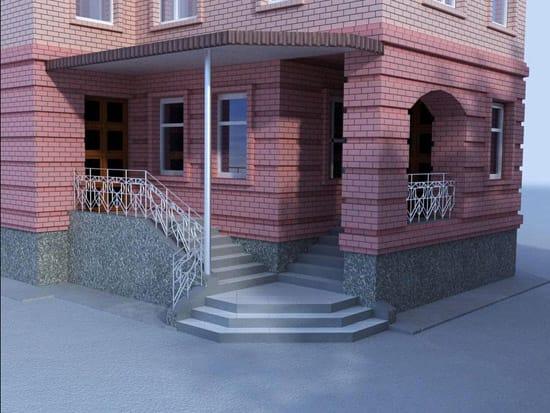 Угловое крыльцо с двумя лестницами