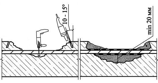Зачистка поверхности крыльца перед ремонтом