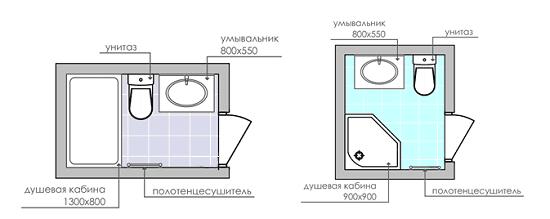 Проекты санузла с ванной и душевой кабиной
