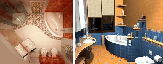 Варианты зонирования помещения ― дизайн совместного санузла маленькой площади