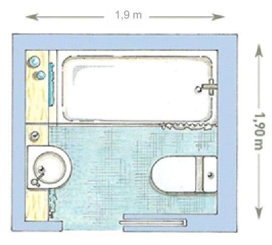 Расположение сантехники в санузле квадратной формы