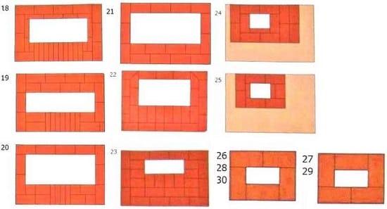 Схема кладки печи беседки 18-29 рядов