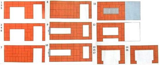 Схема кладки печи в беседке 1-17 рядов
