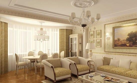 Светлые обои с золотом в просторной гостиной
