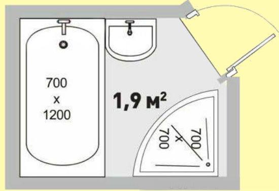 Расположение сантехники в санузле 2 кв метра