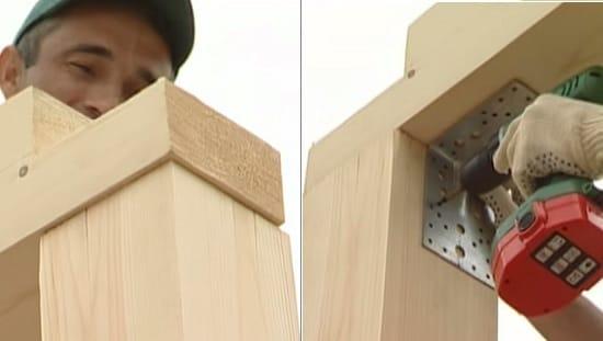 Устройство верхней обвязки деревянной беседки