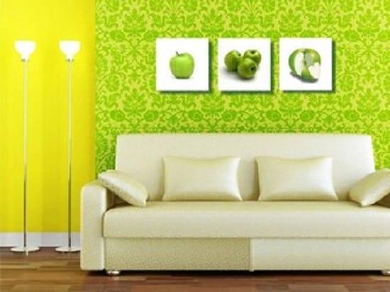 Сочетание желтых и зеленых обоев