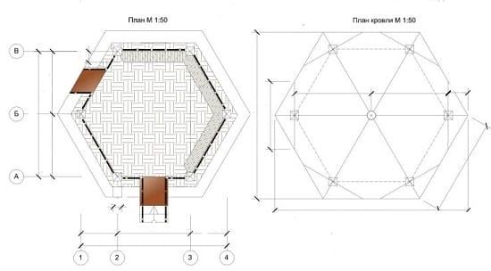 Чертеж крыши шестиугольной беседки