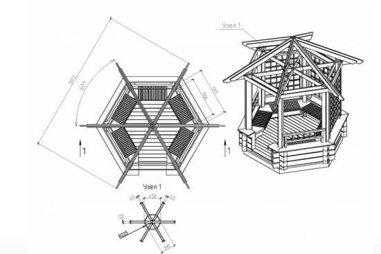 Чертеж шестигранной деревянной беседки