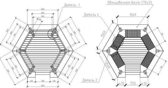 Подробный чертеж шестигранной беседки