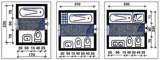 Размеры маленького санузла с ванной