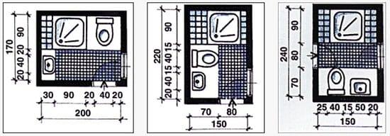 Размеры маленького санузла с душевой кабиной