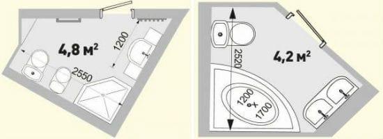 Размещение сантехники в санузле нестандартной площади