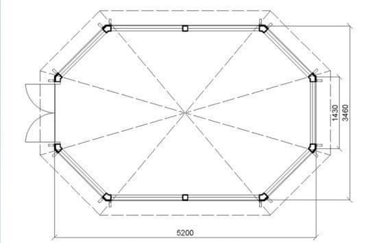 План кровли восьмиугольной беседки