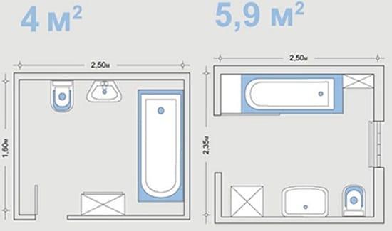 Размещение сантехники в санузлах среднего размера