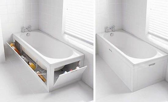 Откидные ящики под ванной в санузле