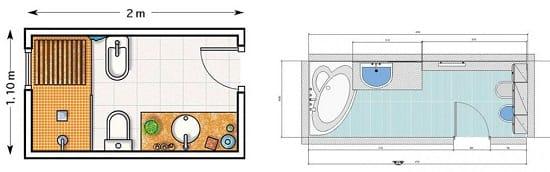 Примеры размещения сантехники в узком санузле