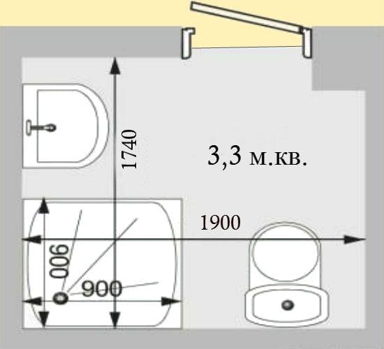 Планировка санузла с душевой кабиной