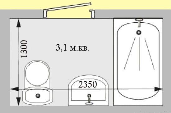 Линейная планировка совмещенного санузла