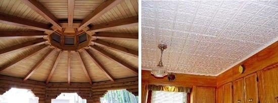 Вагонка и плитка на потолке беседки