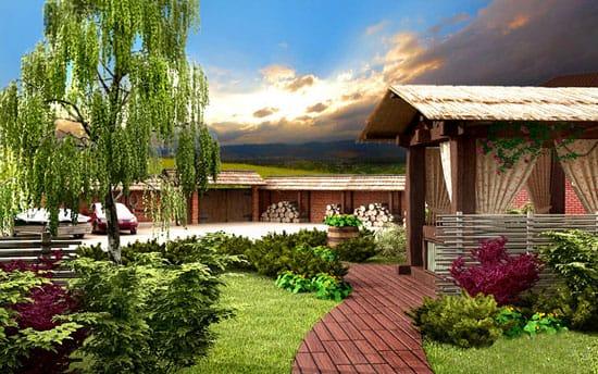 Озеленениие участка загородного дома с беседкой