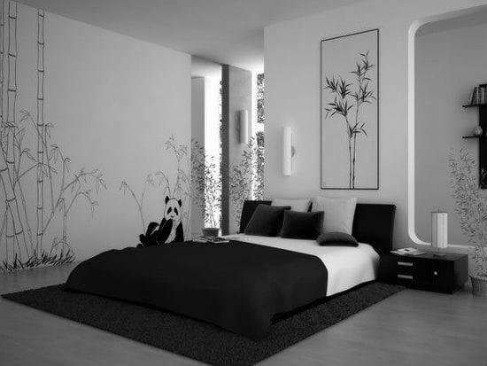 Монохромная черно-белая отделка спальни в японском стиле