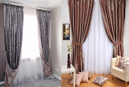 Типы подхватов тяжелых бархатных штор для спальни