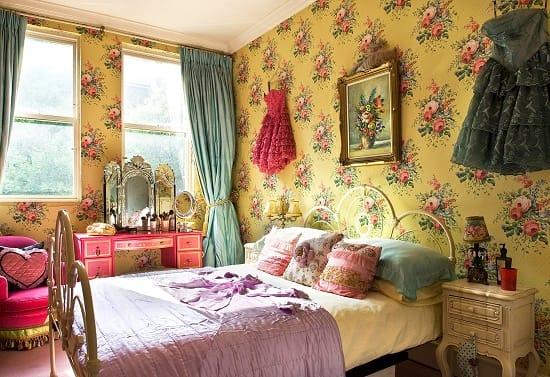 Однослойные бумажные обои в цветочек для спальни прованс