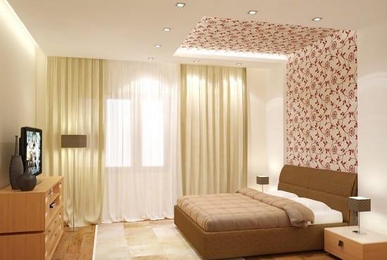 Точечные встроенные светильники для освещения маленькой спальни