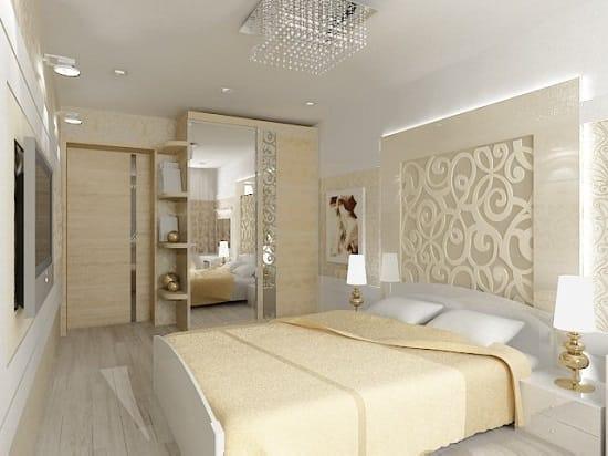 Выбор  светлых тонов для отделки маленькой спальни
