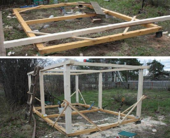 Строительство каркаса беседки с четырехскатной крышей